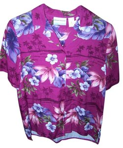 Alfred Dunner 6 Petite Hawaiian Floral Palm Trees Like New Button Down Shirt MULTI COLOR