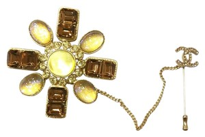 Chanel Authentic Chanel Gold and Brown Rhinestone Double Brooch and Pin