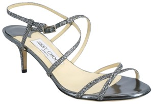 Jimmy Choo Sandal Gliter Lame Mid Heel Party Formal Silver Pumps