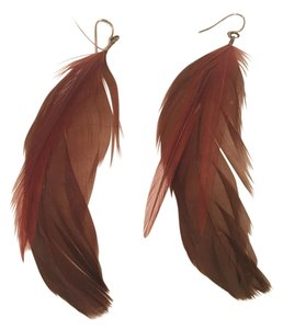 Red and Brown Feather Earrings