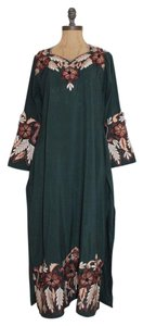 short dress GREEN Hippie Vintage Floral Slits on Tradesy