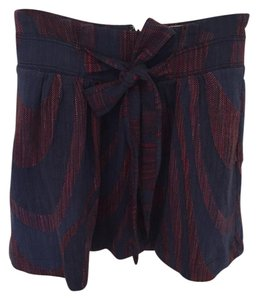 Anthropologie Patterned Empire Waist Mini Skirt Blue and Red