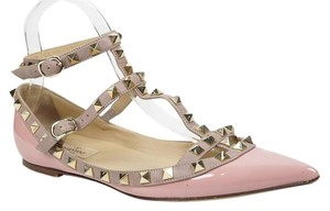 Valentino Rockstud 37.5 7 Caged Light Pink Blush Patent Leather Pointed Toe Wedding Shoes