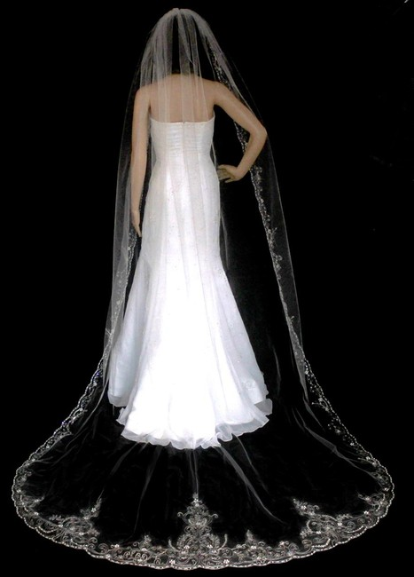 Item - Ivory/Silver Long Beaded Embroidery Cathedral Bridal Veil