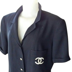 Chanel Rare Cambon Button Down Xl Logo Cc Dress