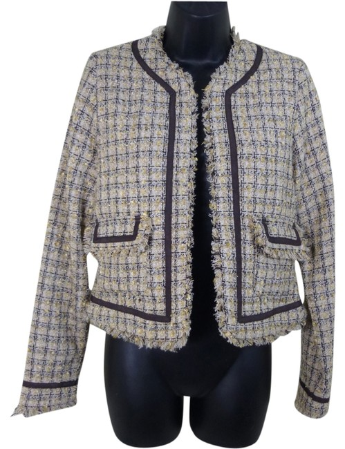 True Meaning Woven Career Professional Feminine Tan Gold Brown Blazer