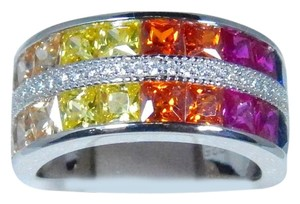Other RAINBOW SAPPHIRE DOUBLE ROW BAND PRINCESS CUT CHANNEL SET STERLING SILVER RING