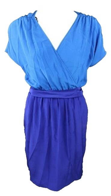 Nell Couture short dress Blue Silk on Tradesy