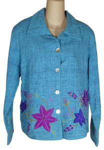 Yak Magik Embroidered Applique Floral Colorful Aqua Blue Jacket