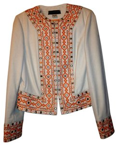 Bianca Nygard Moroccan Embroidered Ivory & Tangerine Jacket