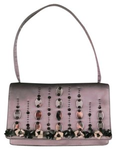 Prada Mirror Leather Flower Beaded Shoulder Bag