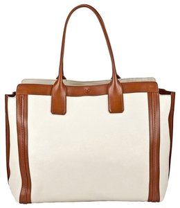 Chloe Alison Medium Shopper Tote Leather Satchel in White and Tan