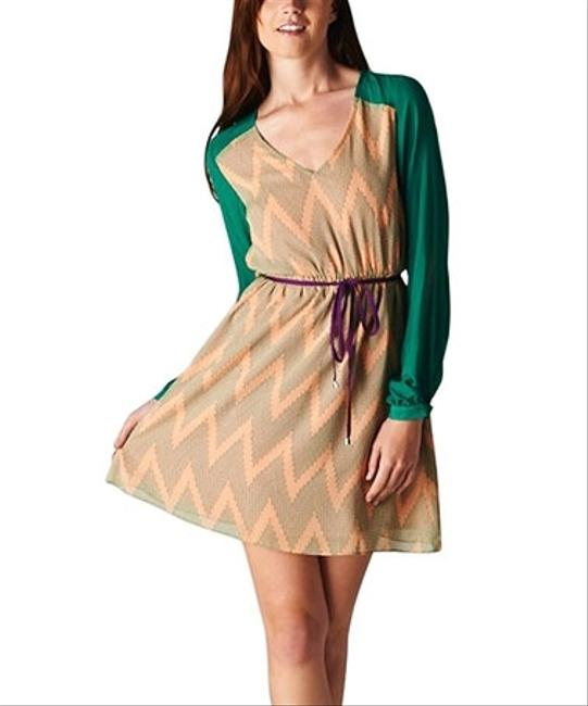 Esley short dress Peach & Green on Tradesy