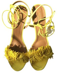 Aquazzura Wild Thing Tulip Sz 42 yellow Sandals