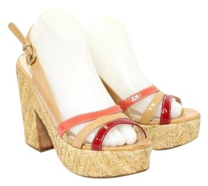 Prada natural and multi color Wedges