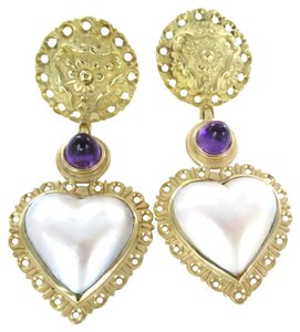 14KT AMETHYST HEART MOTHER OF PEARL VINTAGE EARRINGS DANGLE TRENDY FINE JEWELRY