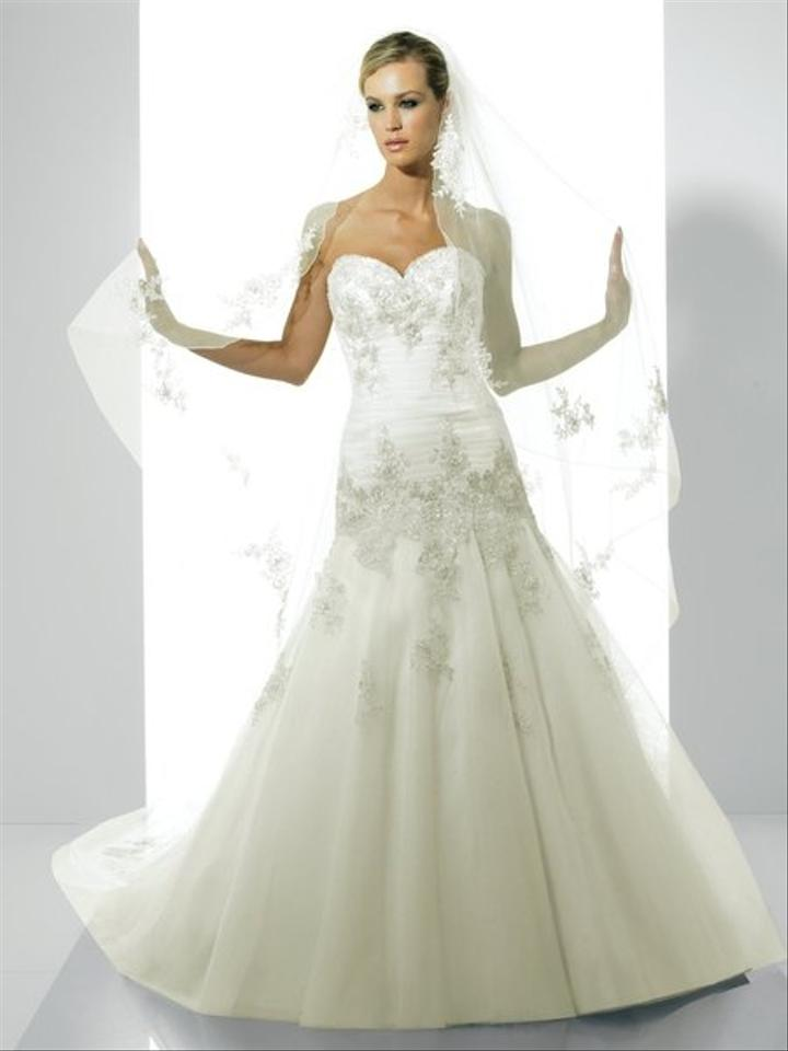 Moonlight Bridal White Tulle 6148 Feminine Wedding Dress Size 10 (M ...