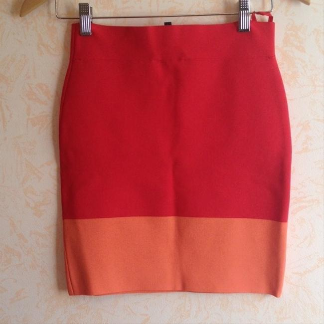 BCBGMAXAZRIA Joelle Bandage Colorblock Mini Midi Girls Night Out Date Night Summer Fall Spring Brand New Sexy Chic Skirt Red & Orange