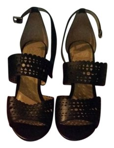 Tory Burch Gladiator Preforated Leather Black Wedges