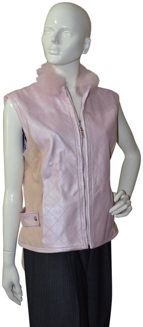 Item - Pink Leather Fox Fur Collar Activewear Size 12 (L)