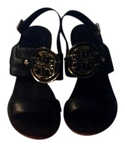 Tory Burch Leather Wedge Summer Black Wedges
