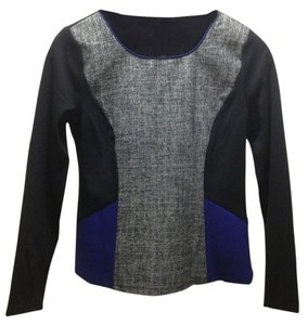 Ann Taylor Long Sleeve Top Colorblock Black/Indigo/Tweed