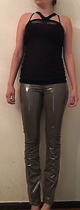 Helmut Lang Lacquer Shiny Panel Stretch Leggings Runway Sample Pants