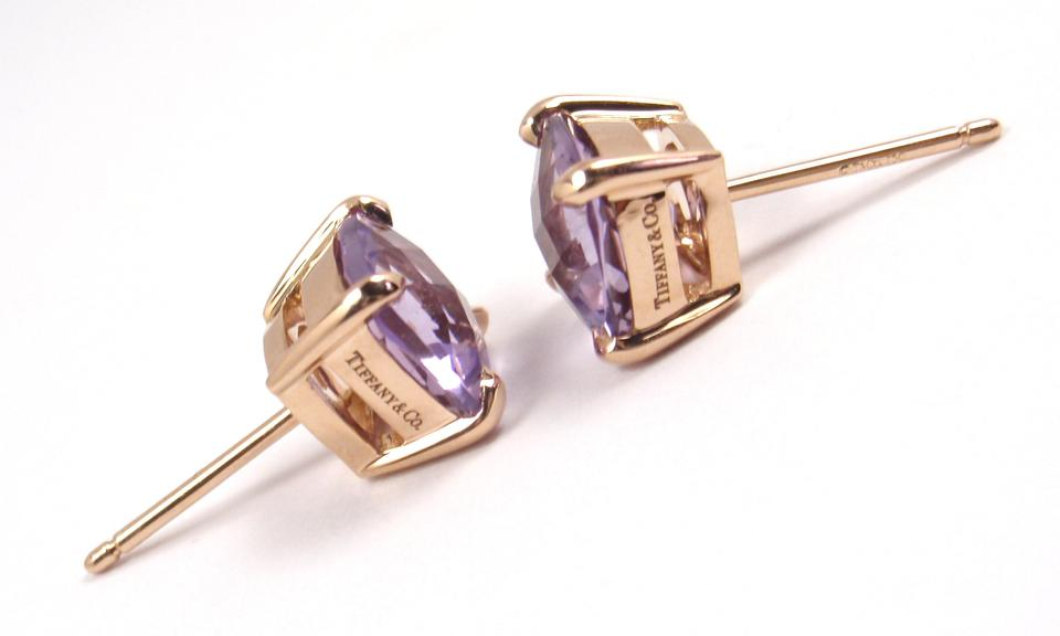 Tiffany Co Rare Sparklers 18k Rose Gold Lavender Amethyst Stud W Box Earrings Tradesy
