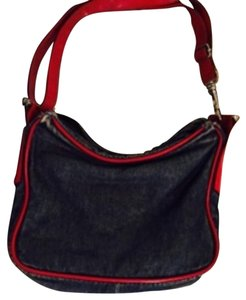 Dolce&Gabbana Denim With Red Leather Messenger Bag