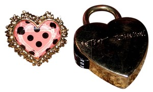 Betsey Johnson Betsey Johnson pink Polka Dot ring and heart shape lock