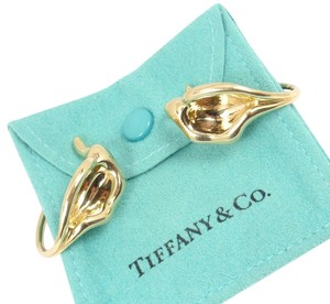 Tiffany & Co. Rare Vintage Tiffany &Co Peretti 18K Yellow Gold Calla Lily Flower Cuff Earrings