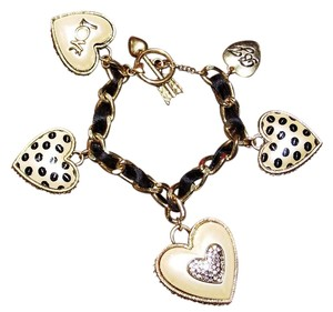 Betsey Johnson Betsey Johnson polka dot heart shaped toggle bracelet charms