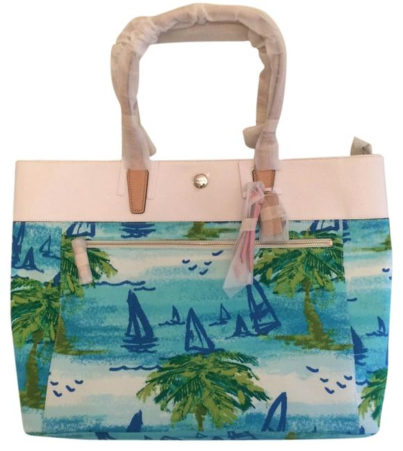 Item - Resort Tote Blue Green & White Canvas Leather Beach Bag