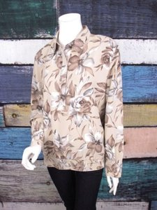 Alfred Dunner Floral Peasant Shirt Top Taupe, Gray