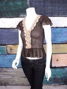 Other 213 Michelle Kim Anthropologie Brown Crinkle Chiffon Lace Peplum Top Brown, Tan