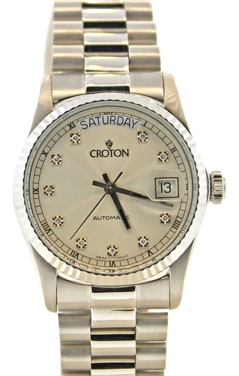 Croton Croton President Day Date Watch 18k SOLID WHITE GOLD Diamond Dial 36mm Watch