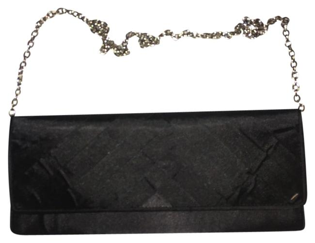 Item - With Chain Black/Silver Satin Clutch
