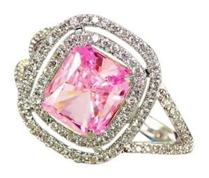 Other New Pink And White Sapphire .925 Silver Ring Sz 10