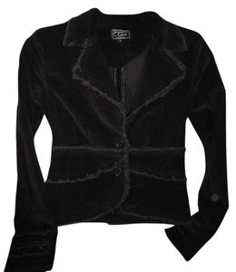 Ashley International Corduroy Casual Black Womens Jean Jacket