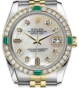 Rolex Rolex 36mm Datejust 2 Tone MOP 8+2 Diamond Emerald Watch