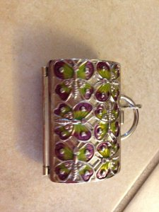 Judith Ripka Judith Ripka green and purple butterfly pill case