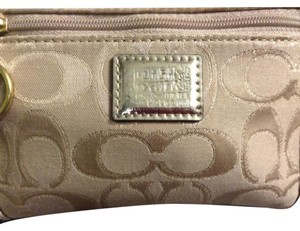 Coach Wristlet in Cream Light Tanish,gold With Teal Blue Mermaid Color Inside