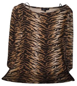 Jones New York Pullover Tiger Cotton Top Black and Gold Animal Print
