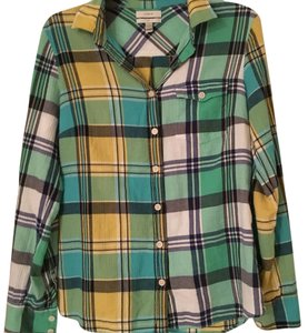 J.Crew Plaid Fall Button Down Shirt green, yellow, navy