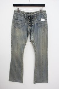Other Henry Mink Vox Stripe Acid Washed Lace Up Front 46 Skinny Jeans