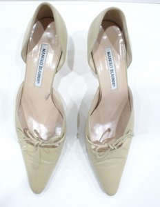 Manolo Blahnik Kitten Beige Pumps