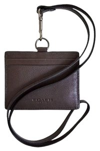 Coach COACH F63629 MEN'S ID LANYARD IN SPORT CALF LEATHER MAHOGANY NEW WITH TAG