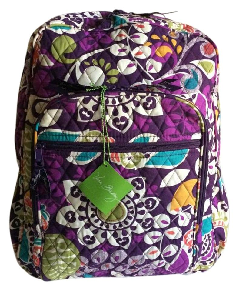 Vera Bradley Cotton Purple Floral Printed Backpack