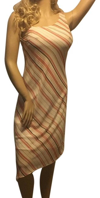 Item - Peach Coral White Striped Hi Lo High-low Night Out Dress Size 8 (M)