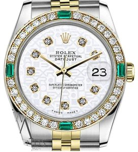 Rolex Women's Rolex 31mm Datejust 2Tone WhiteColor Jubilee Dial Diamonds